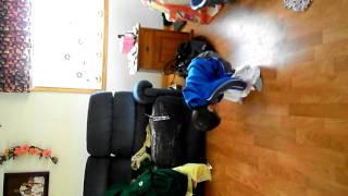 Little boy trying on Grandpa's underwear  FUNNY!