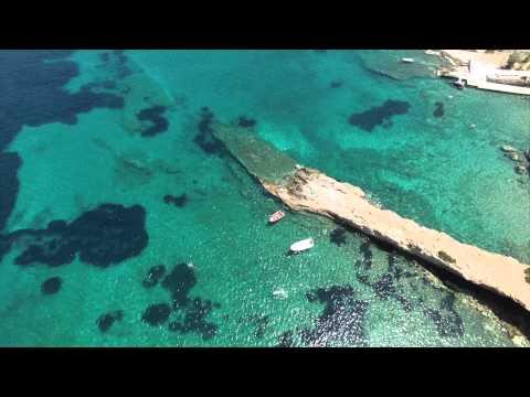 Sea of blue. Kalamos, Evia (Evoia) island, Greece. Aerial video from Phantom 3 Pro UAV drone 4K UHD