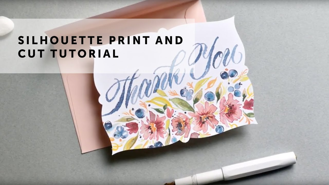 Free Silhouette Print Cut Thank You Card Tutorial Youtube