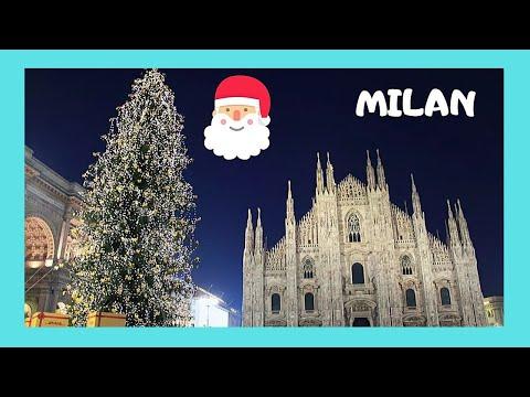 Christmas In Italy.Exploring Milan The Christmas Market On A Rainy Night Italy