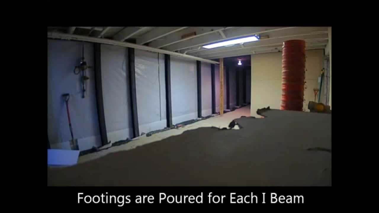 I Beam Installation Time Lapse   Baltimore Towson   Basement Waterproofing