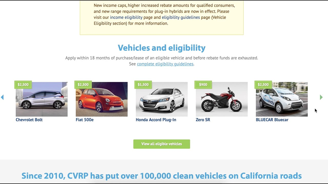 California Clean Vehicle Rebate Project for Plug in hybrid ...