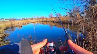 КЛЮЁТ В САМОЙ ТРАВЕ рыбалка на спиннинг весной Ловля окуня на нано джиг XUL спиннинг