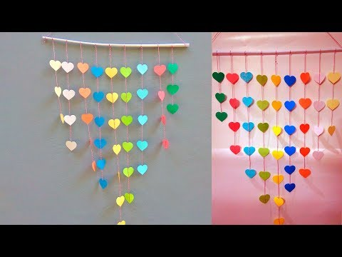 DIY Beautiful Wall Hanging Paper Chain Heart Decoration - Easy Wall Decoration Ideas