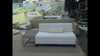 White Leather Sectional Sofa with Chaise