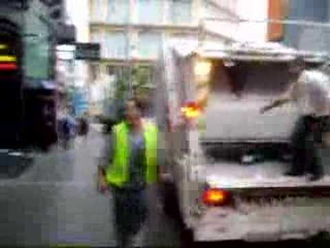 Garbage man in Paceville malta early morning