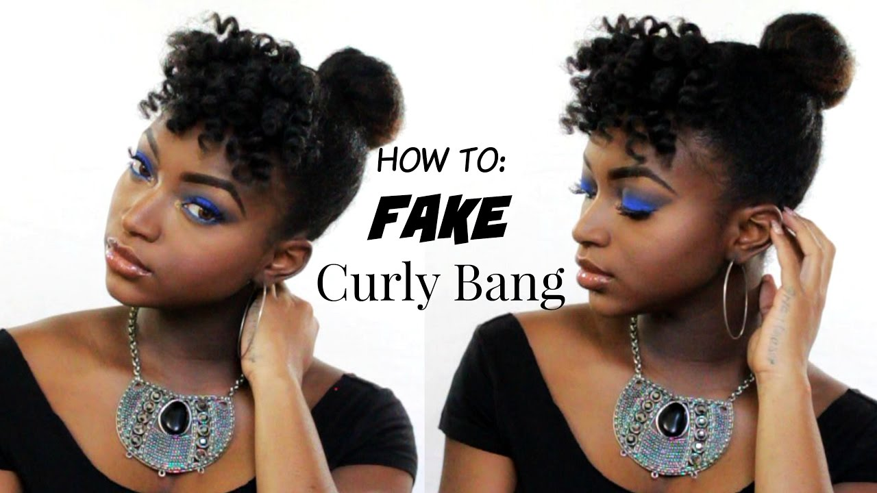 How To Fake Bangs Fast Top Knot Bun On Natural Hair Youtube