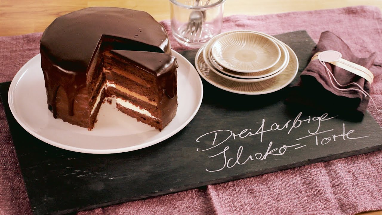 rezept dreifarbige schoko torte von dr oetker youtube. Black Bedroom Furniture Sets. Home Design Ideas