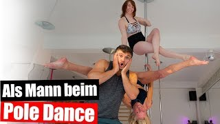 Als Mann beim Pole Dance - Training an der Stange