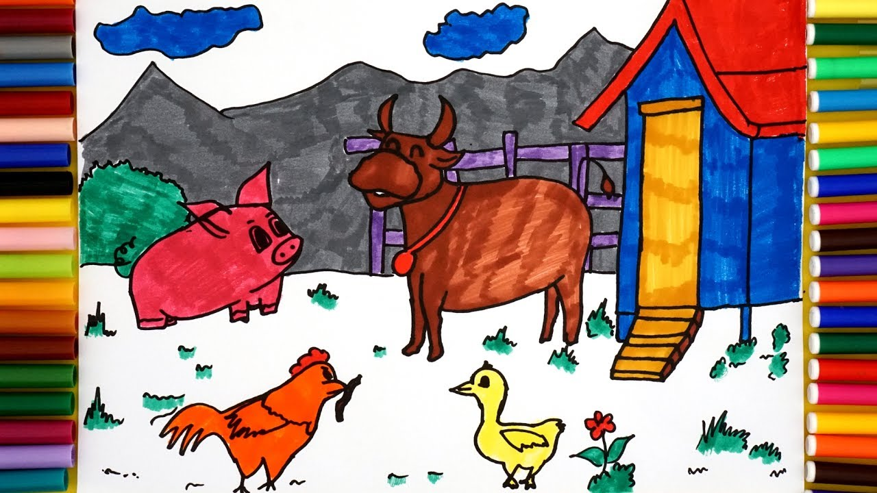 Cow and Chicken Coloring Pages #coloringpagesforkids ... | 720x1280