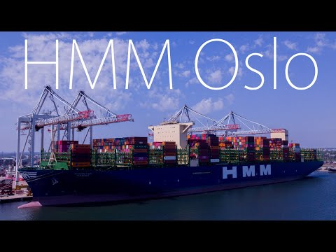 HMM Oslo Second Largest Container Ship in the World at the Port of Southampton Plus Queen Victoria