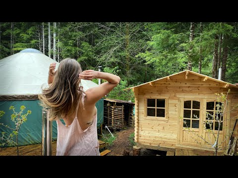 OFF GRID LIVING   BUNKIE LOG CABIN   HERB GARDEN RAISED BED from FOREST LOGS & Plum Trees – Ep. 131