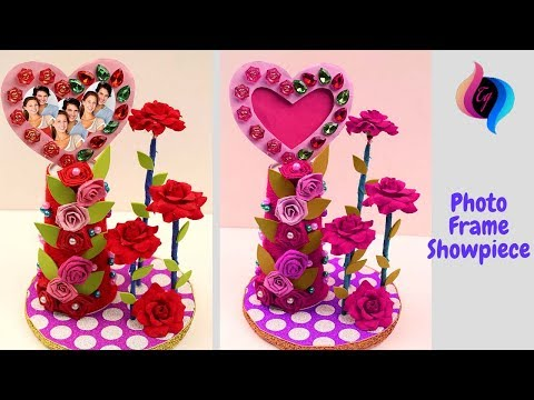 How to make heart shaped photo frame and showpieces - Best out of waste showpiece - Handmade craft