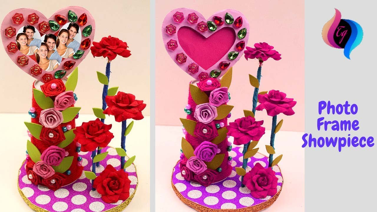 How to make heart shaped photo frame and showpieces - Best out of ...
