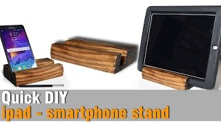 DIY ipad smartphone stand from Scrap 2x4