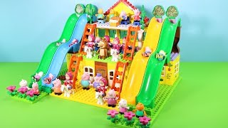 Peppa Pig Building Blocks House Toys For Kids - Lego Duplo House With Water Slide Creations Toys #3