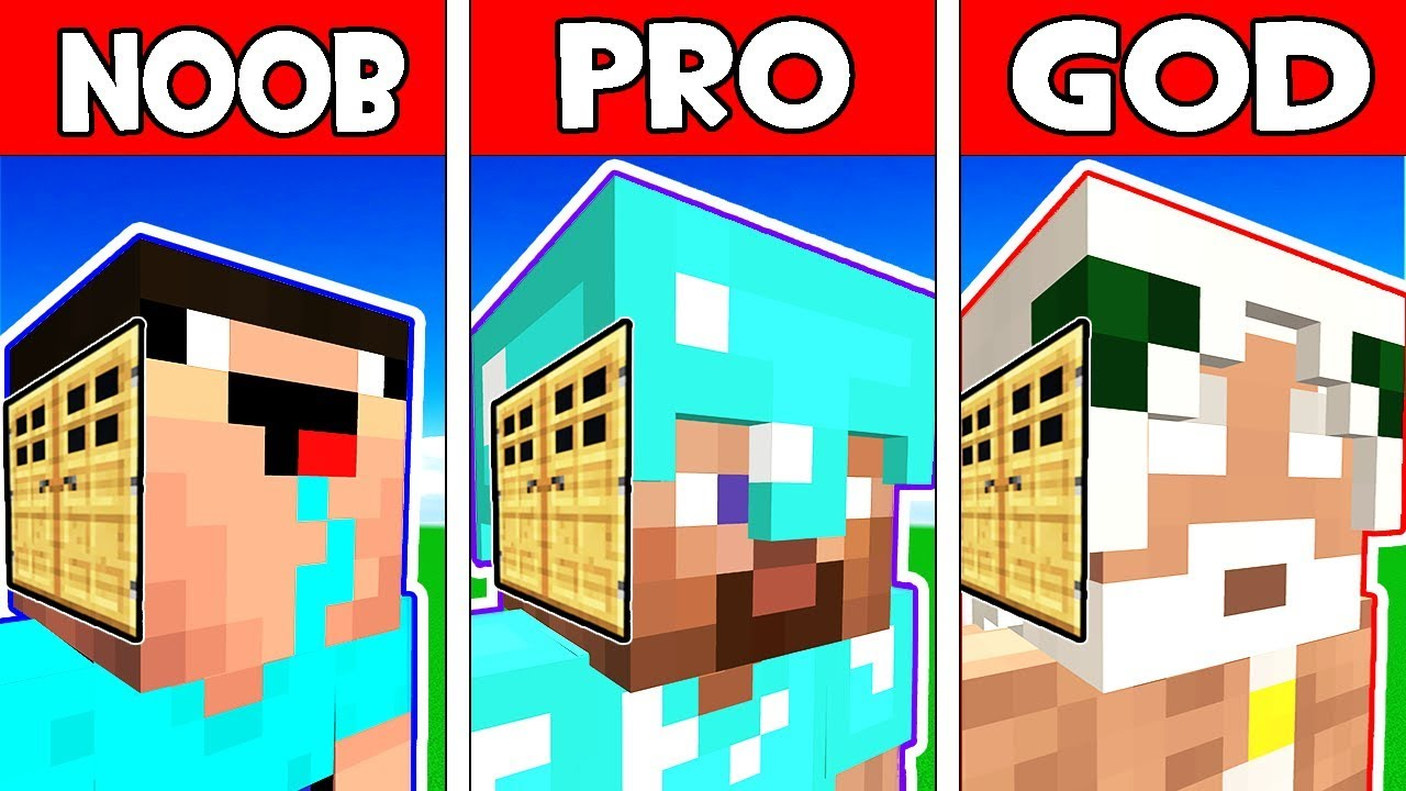Minecraft Noob Vs Pro Vs God Family Head Block House In Minecraft Animation Youtube