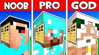 Minecraft - NOOB vs PRO vs GOD : FAMILY HEAD BLOCK HOUSE in Minecraft Animation