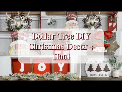DOLLAR TREE DIY CHRISTMAS DECOR   FARMHOUSE DECOR   DOLLAR TREE HAUL