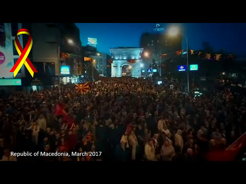 100,000 people have demonstrated in Macedonia's capital, Skopje