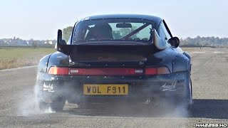 tuned porsche 993 gt2 twin turbo hits the drag strip amazing sounds