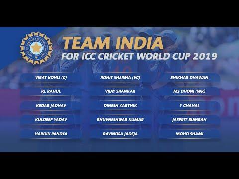 India Squad ICC Cricket World Cup 2019 Live | World Cup Team Announced Karthik, Rahul, Shankar
