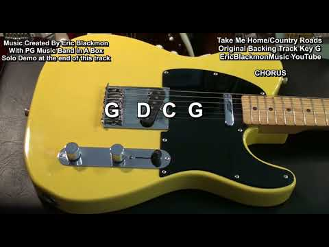 COUNTRY ROADS John Denver Country Style Band In A Box Backing Track Key G Major EricBlackmonGuitar