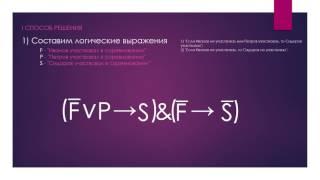 Алгебра логики. Решение простых логических задач.