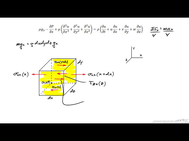 Description and Derivation of the Navier-Stokes Equations