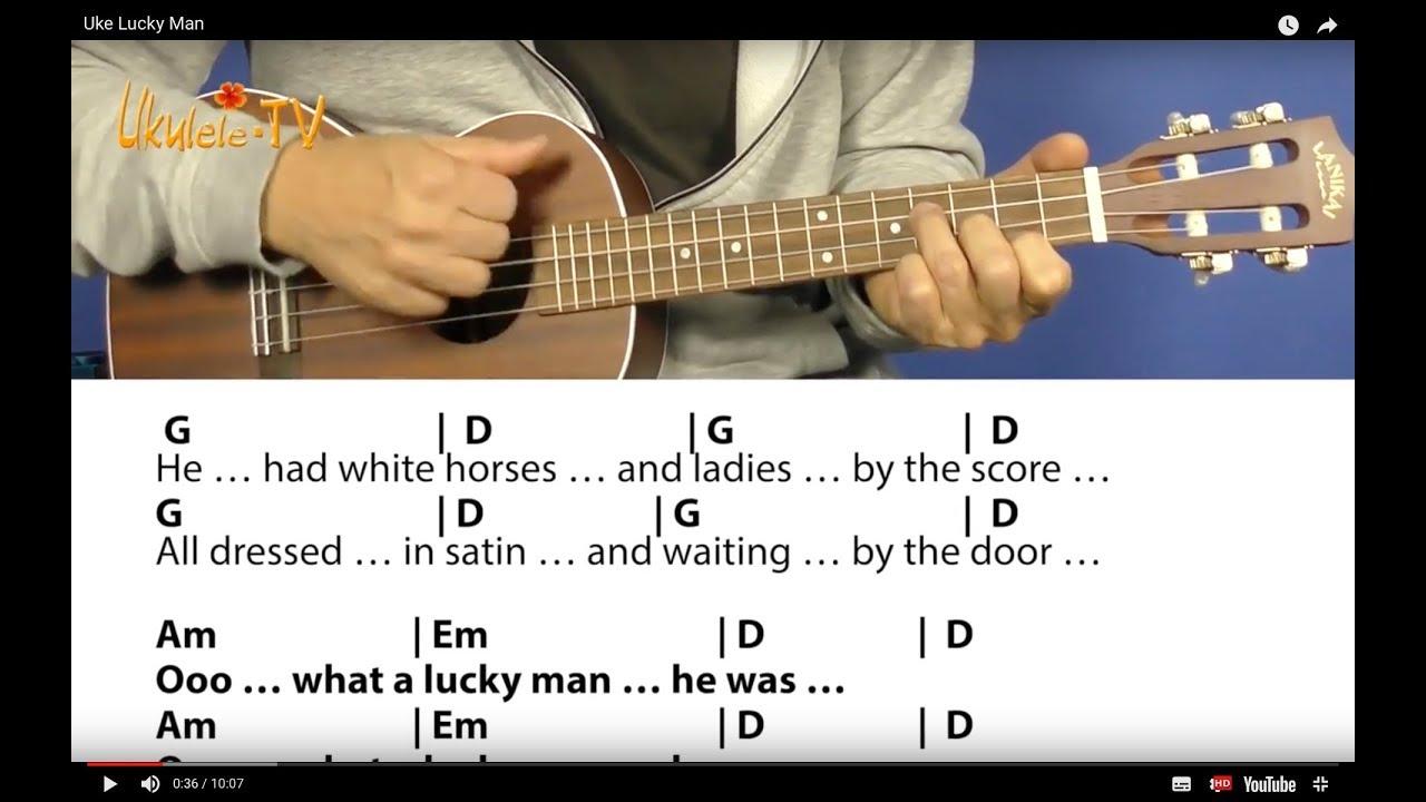 Lucky Man - Emerson; Lake & Palmer, Easy Ukulele Lesson, Chords ...