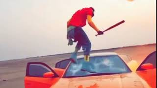 Shatta Wale destroys car in a video shoot