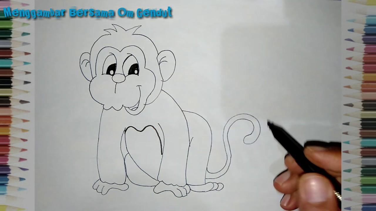 Cara Menggambar Monyet Dengan Mudah 3 How To Draw Monkey In Easy Way 3 Youtube