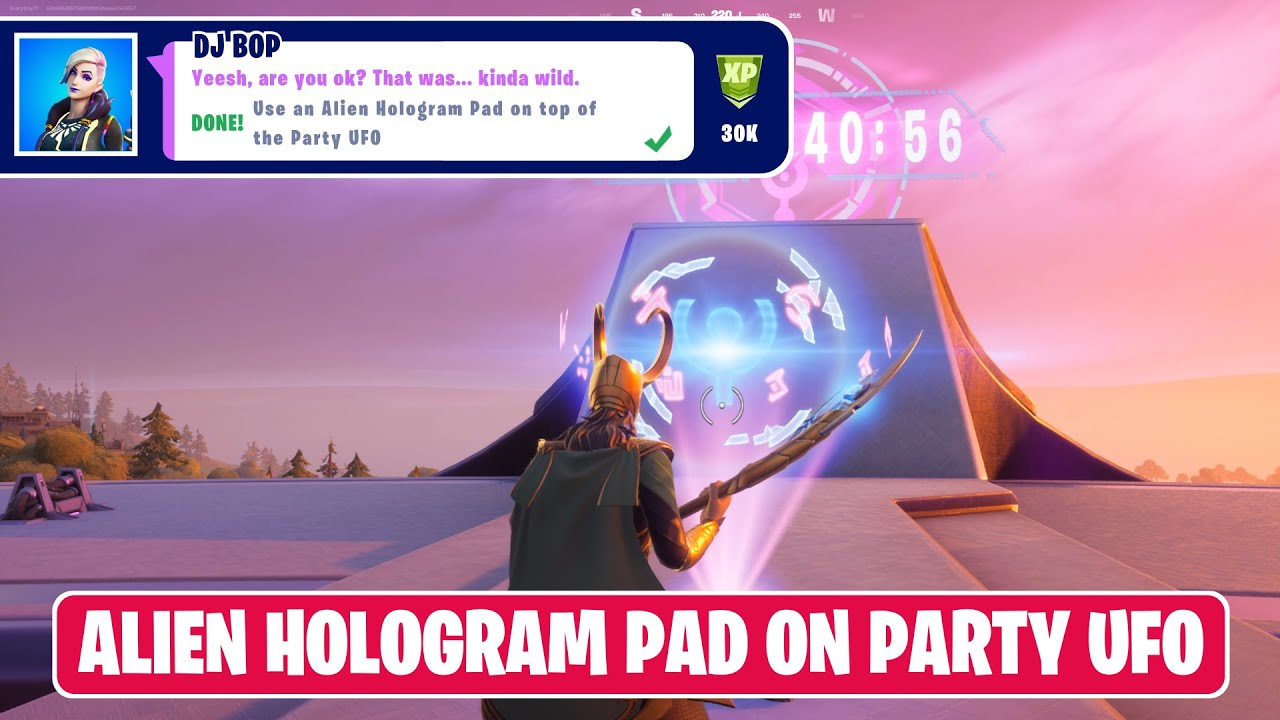 Use an Alien Hologram Pad on top of the Party UFO! - Fortnite Rift Tour (Ariana Grande) Challenges