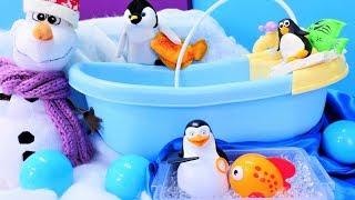 Elsa çizgi filmi. Olaf balık tutup penguen arkadaşlarına gidiyor
