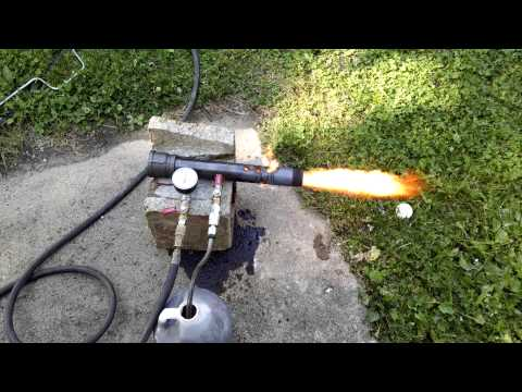 Homemade Waste oil foundry burner test fire