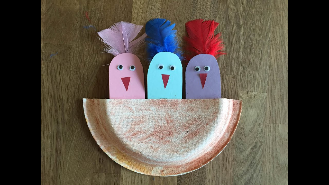 Spring Craft With Cute Baby Bird In The Nest From Paper And Disposable Plate