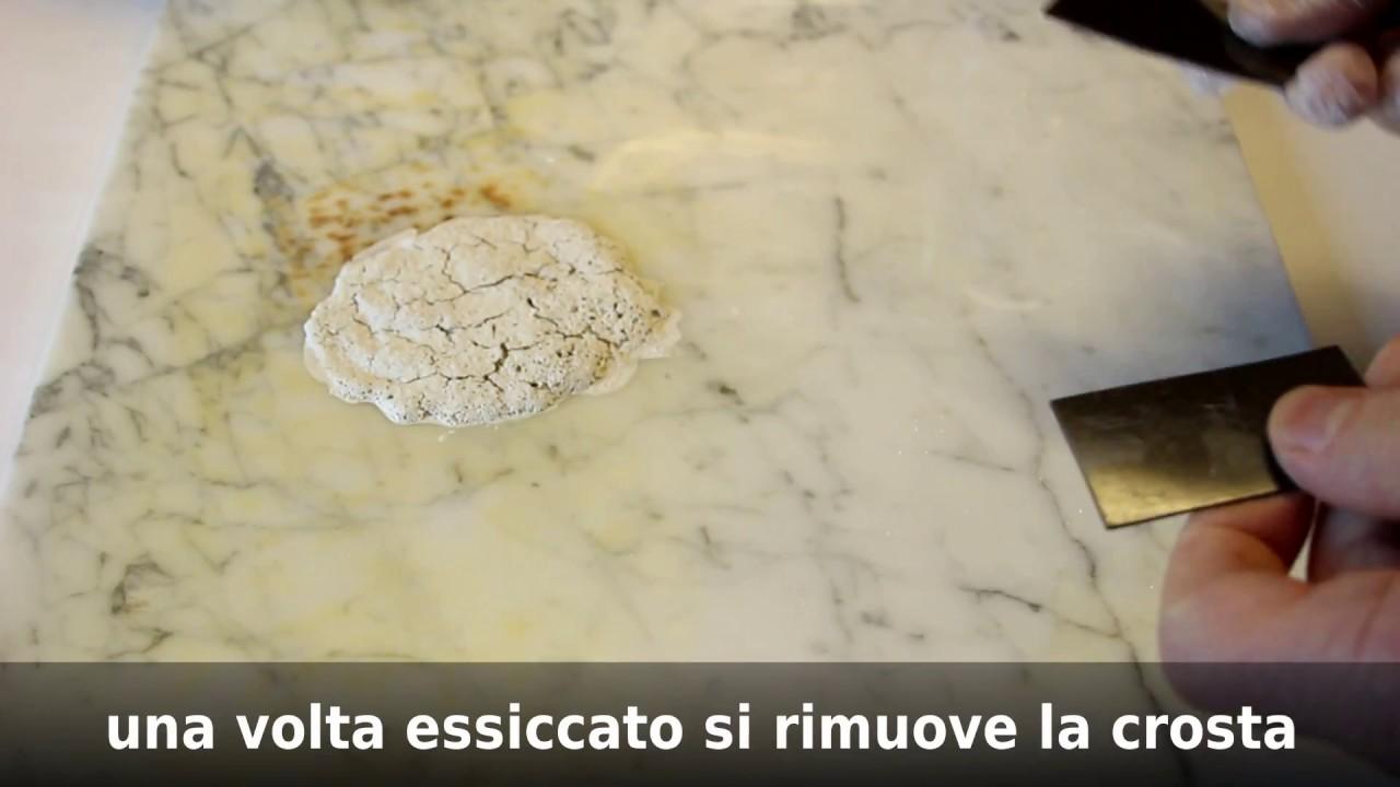 Come Togliere Macchie Di Acido Dal Marmo.Marmo Macchiato Da Ruggine E Colore Youtube