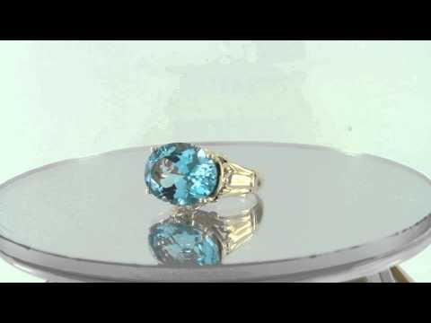 Estate 8.50ct 14k Yellow Gold London Blue Topaz & White Topaz Ring