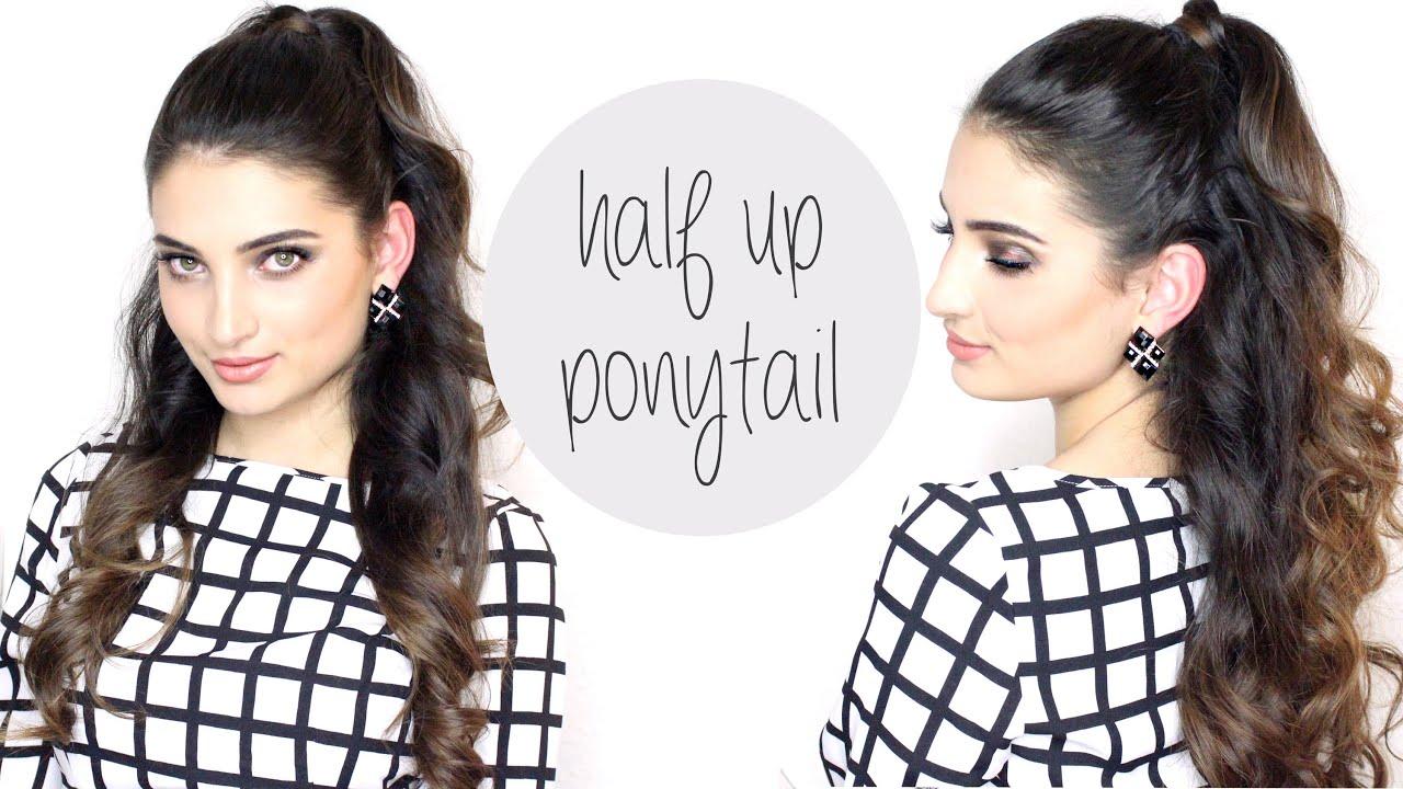 hair tutorial ariana grande big half up ponytail youtube