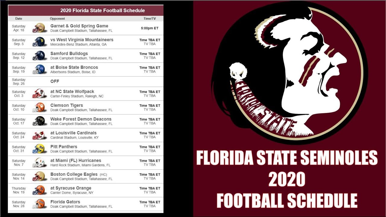 Florida State Seminoles 2020 College Football Schedule Preview Youtube