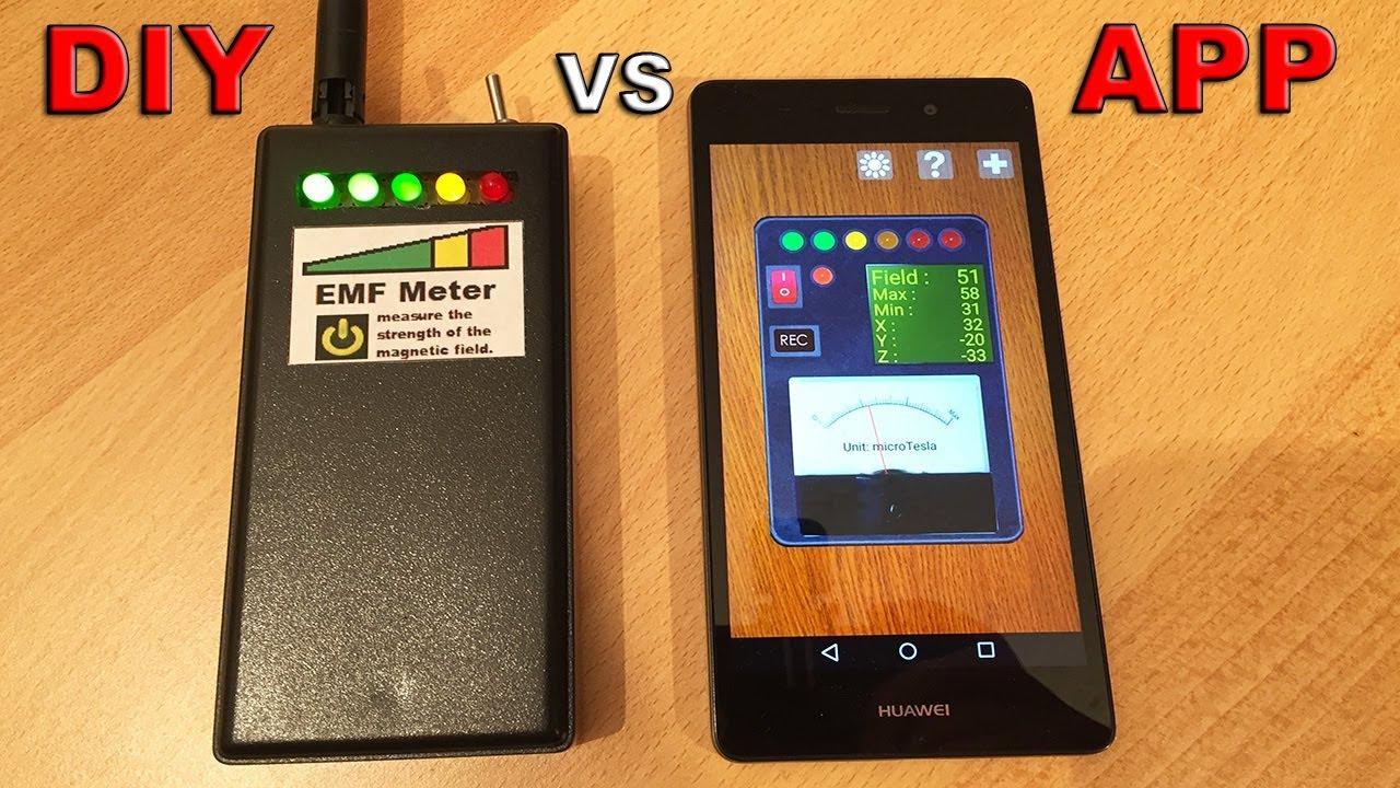 EMF Meter vs Android App EMF Meter (Testing my DIY Meter vs an Android App  Meter) - By STE