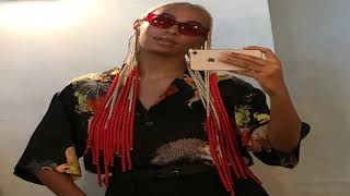 Solange Knowles hair news! New blonde and red hair braids with beads style is EVERYTHING!