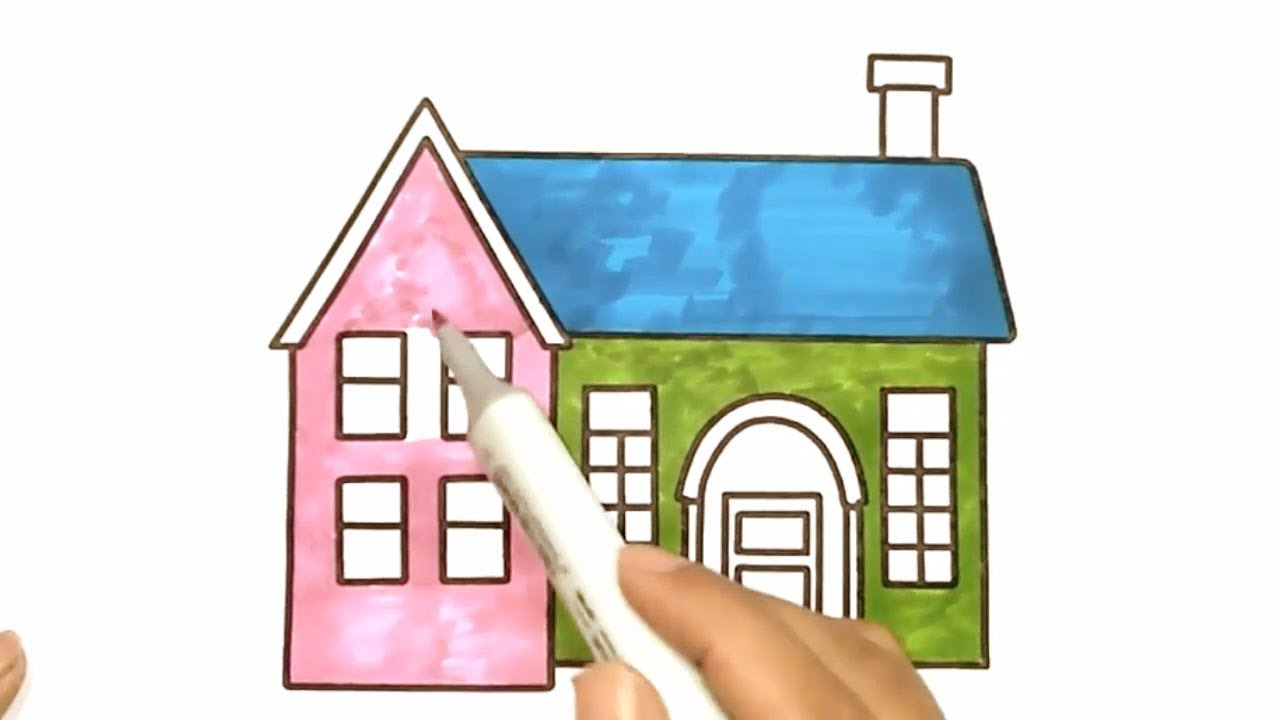 How to Draw Beautiful House With Color Drawing Coloring House
