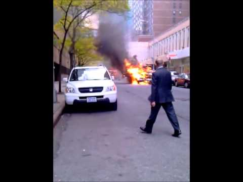 Fire in front of John Jay college of criminal justice