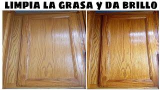 COMO LIMPIAR LA GRASA DE LOS GABINETES DE COCINA Y DAR BRILLO(fácil)