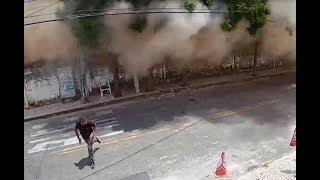 Vídeo mostra prédio desabar sobre pessoas em Fortaleza