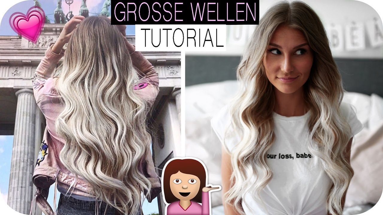 Wellen Mit Glätteisen Grosse Locken Wellen Hair Tutorial So Klappt Es Mit Dem Lockenstab Anajohnson