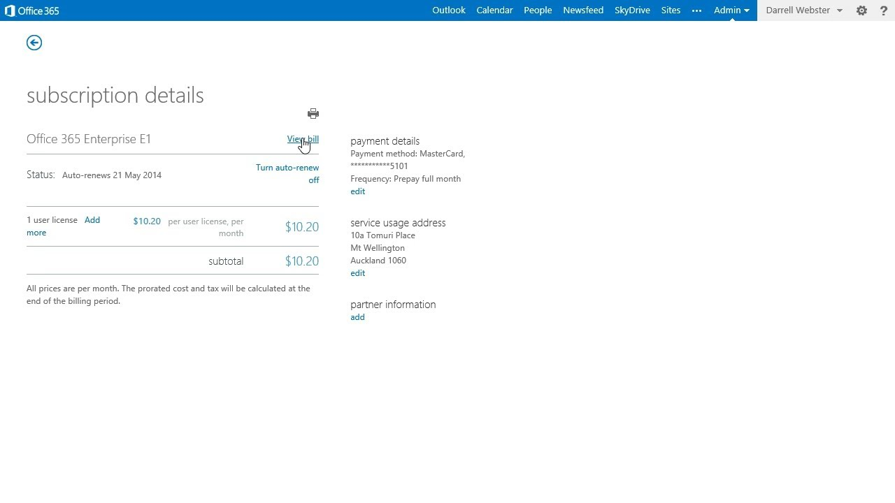 Office 365 Invoice