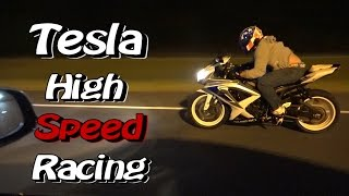 Tesla P90D Ludicrous High Speed Drag Racing Street Bikes - Nitrous Corvette