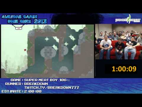 Super Meat Boy - Speed Run in 1:47:36 live (106% +Expert Remix) by Breakdown (AGDQ 2013)